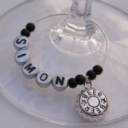 Beer Cap Personalised Wine Glass Charm